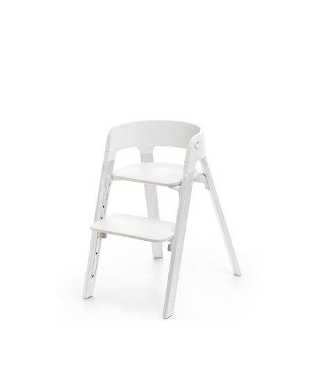 Stokke steps chair white seat oak wood white legs | babyringen